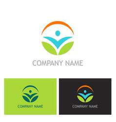 people ecology leaf logo vector image vector image
