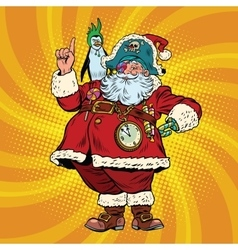 Santa Claus pirate penguin pointing gesture vector image vector image