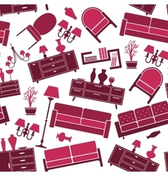 Seamless pattern of interior and furniture vector image vector image