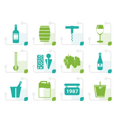 Stylized wine and drink icons vector