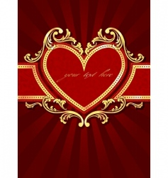 vertical label with a heart vector image vector image