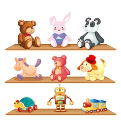 Wooden shelves with different toys vector image