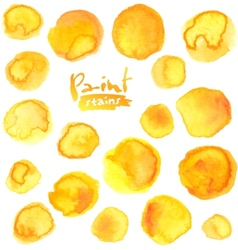 Big set of yellow watercolor stains vector image