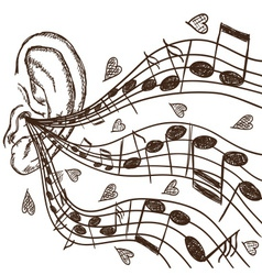 Ear and notes vector image vector image