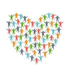 Heart of people diversity logo vector