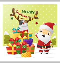 Merry Christmas Greeting card with Santa Claus 2 vector image