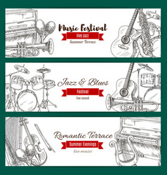 Music festival banner set with music instrument vector