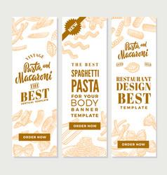 vintage italian pasta vertical banners vector image vector image