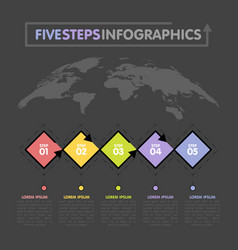 business infographics template timeline with 5 vector image