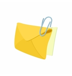 Yellow envelope with steel clip icon vector image vector image
