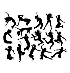 fun breakdance silhouettes vector image vector image