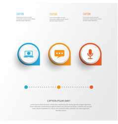 media icons set collection of laptop message vector image vector image