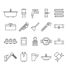 plumbing equipments and tools black thin line icon vector image vector image