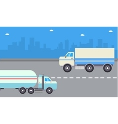 Road tanker and delivery truck vector