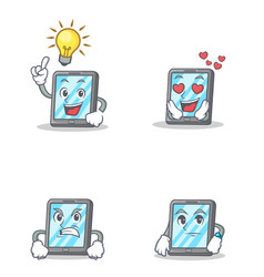 set of tablet character with idea love angry vector image vector image