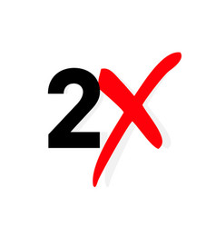 2x logo icon x2 text letter double faster vector image
