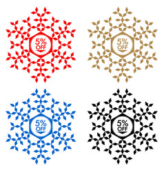 5 off discount sticker snowflake 5 off sale vector image