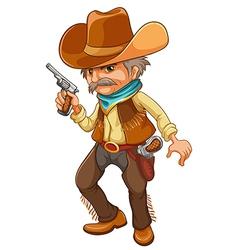 A cowboy holding a gun vector