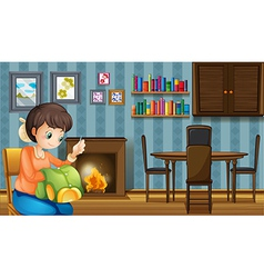 A mother sewing near the fireplace vector image