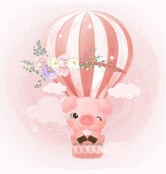 Adorable little pig in watercolor vector