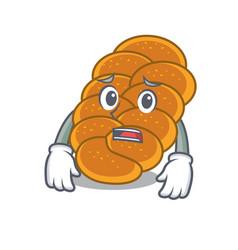 Afraid challah mascot cartoon style vector
