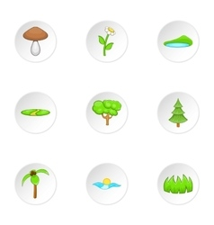 Beautiful nature icons set cartoon style vector image