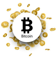 black bitcoin sign on white vector image