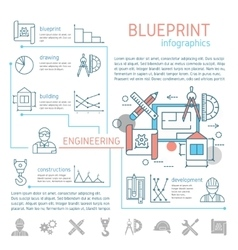 Blueprint And Engineering Linear Infographics vector image