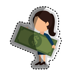 Businessman with bills money isolated icon vector