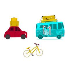 Car trip surf van with baggage mountain bike vector