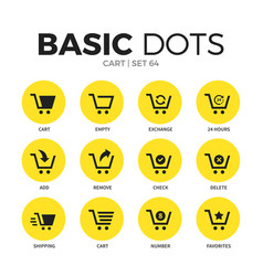 Cart flat icons set vector