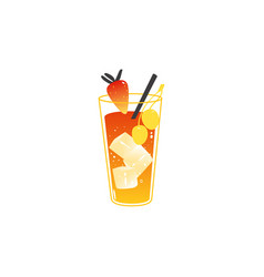 cartoon cocktail straberry ice cubes straw vector image