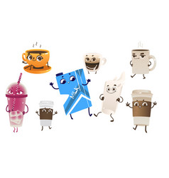cartoon drink characters set vector image