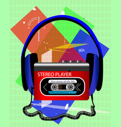 cassette audio player with big headphones vector image