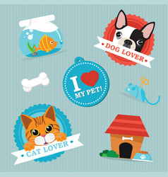 Cat amp dog lover vector