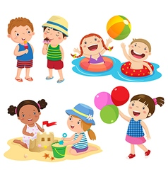 Children play on the beach vector