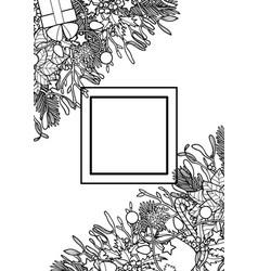 christmas outline angular composition vector image