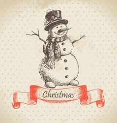 Christmas snowman hand drawn vector