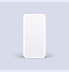 Clay smartphone mockup isolated white mobile vector