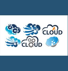 cloud solution template set vector image