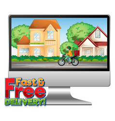 Computer with fast and free delivery logo vector