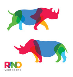 creative rhinoceros animal design vector image