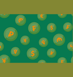 currencies signs on green background seamless vector image