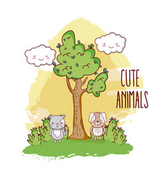 cute animals in the forest vector image