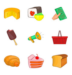 Delicatessen icons set cartoon style vector