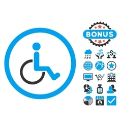 Disabled Person Flat Icon with Bonus vector image vector image