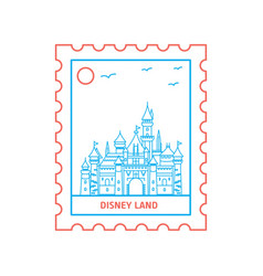 Disney land postage stamp blue and red line style vector
