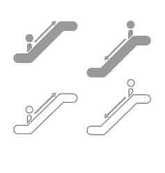 Escalator grey set icon vector