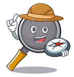 Explorer frying pan cartoon character vector