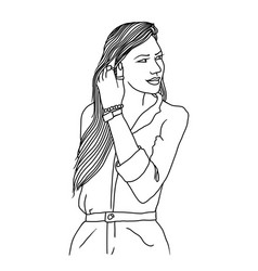 fashion girl with long hair black and white vector image